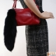 Fashionable Black Fox Tail Fur Keychain Bag Charm