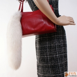 Fashionable White Fox Tail Fur Keychain Bag Charm