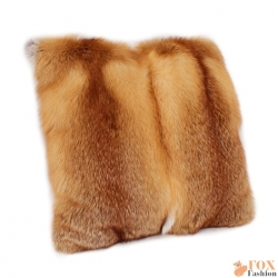 Genuine Red Fox Fur Pillow / Red Fox Fur Cushion 50x50cm
