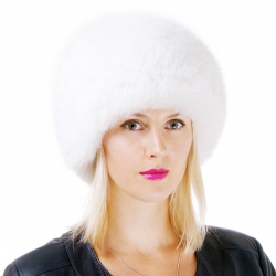 Genuine Women's White Fox Fur Round Hat