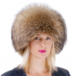 Genuine Women's Raccoon Fur Round Hat