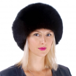 Genuine Women's Black Fox Fur Round Hat