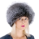 Genuine Women's Silver Fox Fur Roller Hat - Toque