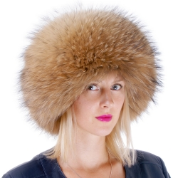 Genuine Women's Raccoon Fur Roller Hat - Toque