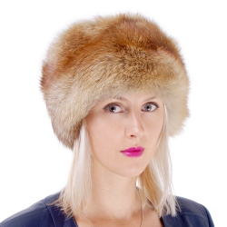 Genuine Women's Red Fox Fur Roller Hat - Toque