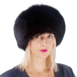 Genuine Women's Black Fox Fur Roller Hat - Toque